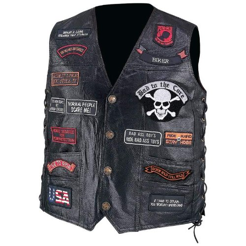 Standout Vests Exclusive Motorcycle Leather Biker Vest 23 Patches Incomparable