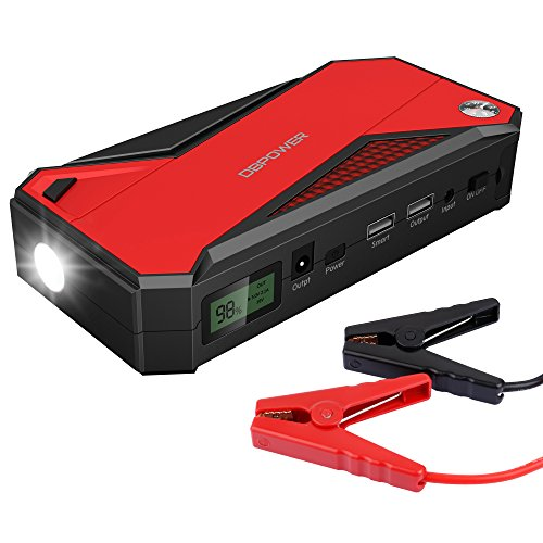 DBPOWER 600A Peak 18000mAh Portable Car Jump Starter (up to 6.5L Gas and 5.2L Diesel Engine) Battery Booster and Phone Power Bank with Smart Charging Port, Compass, LCD Screen and LED Light - Black/Red (Small Battery Jump Starter compare prices)