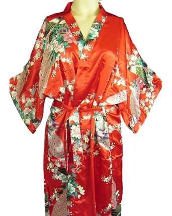 BTP! Silk Kimono Robe Gown Women's Sleepwear Peacock Floral Bathrobe Soft Gift Red