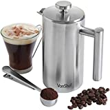 VonShef Double-Wall Keep Warm Satin Brushed Stainless Steel French Press Cafetiere Coffee Filter(6 Cup w/ Measuring Spoon and Sealing Clip). Available in sizes 3, 6 and 8 Cup