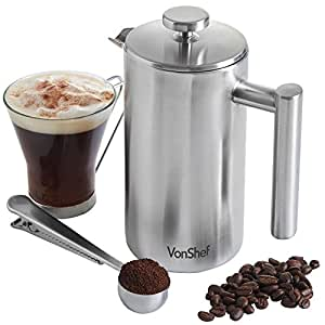 VonShef Double-Wall Keep Warm Satin Brushed Stainless Steel Cafetiere Coffee Filter. Available in sizes 3, 6 and 8 Cup (6 Cup w/ Measuring Spoon and Sealing Clip)