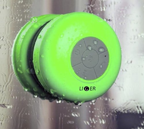 Liger Waterproof Wireless Bluetooth Shower Speaker & Hands-Free Speakerphone Compatible With All Bluetooth Devices, Iphone 5S Siri And All Android Devices (Green)