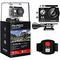 Akaso EK7000 Ultra HD 4k Waterproof Sports Action Camera (Black) with 2 Rechargeable Batteries and 19 Mounting Kits
