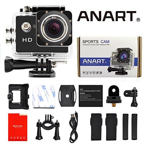 ANART® Black SPC-04 A8 Sports Camera Action Diving 98FT(30M) Waterproof Helmet DVR