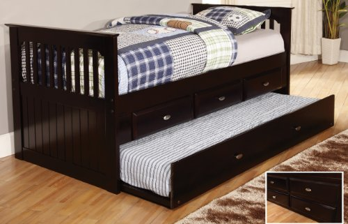 Twin Rake Bed With 3 Drawers And Trundle, Desk, Hutch, Chair And Entertainment Dresser In Espresso Finish front-671335