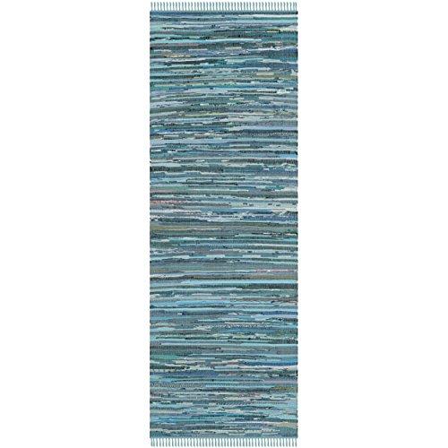 Safavieh Rag Rug Collection RAR121B Handmade Blue and Multicolored Cotton Area Runner, 2 feet 3 inches by 8 feet (2'3