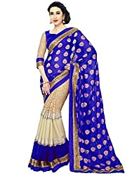 Apka Apna Fashion Blue Embroidery Geogrette Outstanding Saree With Blouse