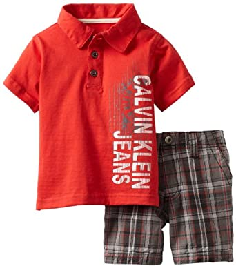 Calvin Klein Baby-boys Infant Polo Shirt With Plaided Shorts, Red, 18 Months