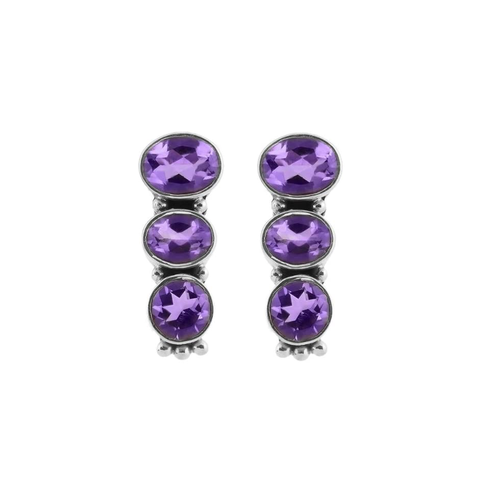 7.20 Ct Round and Oval Cut Purple Amethyst .925 Sterling Silver Earrings