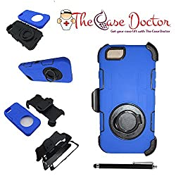 TCD for Apple iPhone 6 PLUS / 6S PLUS [BLUE] Industrial Heavy Duty Case LIFETIME WARRANTY [Multi Layer] Soft Silicone/Hard Plastic Hybrid Mix Belt Clip [Stays on your hip] SCREEN PROTECTOR STYLUS