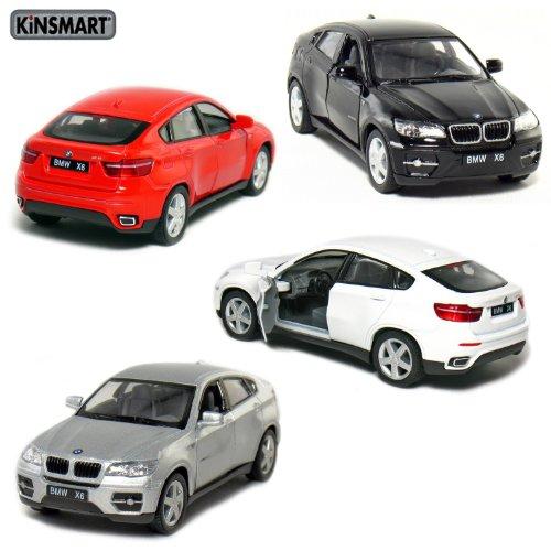 "Bmw X6 Red: Set Of 4: 5"" BMW X6 SUV 1:38 Scale (Black/Red/Silver/White"