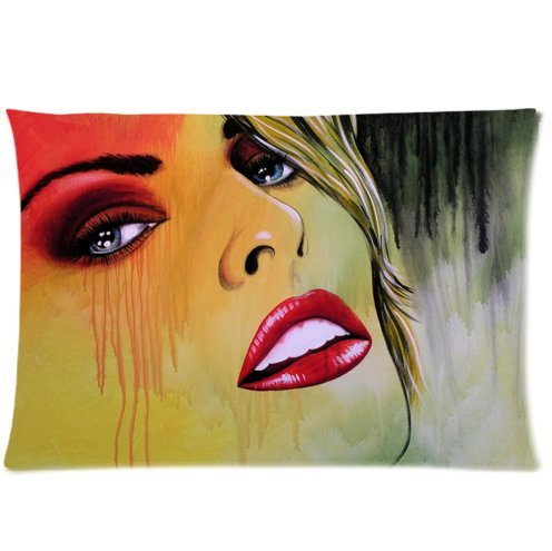 Abstract Girl Art Twin Side Zippered Pillowcase,pillowcover 20 X 30 Inch