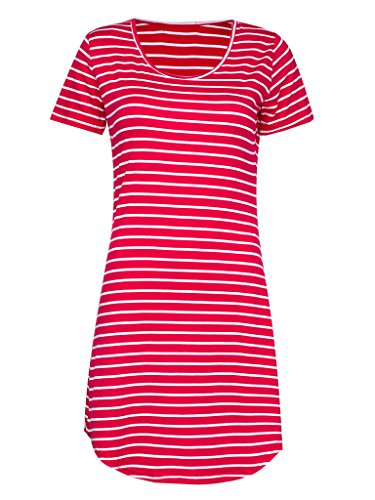 PERSUN Women's Summer Basic Stripes Short Sleeve Shift Mini Dress Top,Red,Large