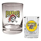 Pittsburgh Pirates MLB Rocks Glass &amp; Square Shot Glass Set - Primary Logo