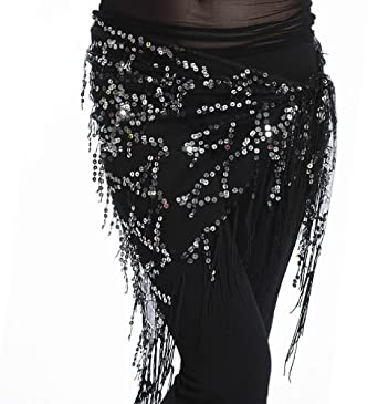 Homubelly Belly Dance Hip Scarf & Shawl, Egyptian Style Net Hip Wrap, Dancing Costumes