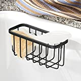 InterDesign Gia Kitchen Sink Suction Holder for Sponges, Scrubbers, Soap - Matte Black