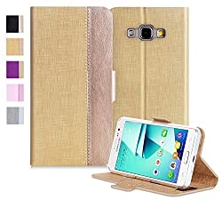 Galaxy J3 Case, FYY [Top-Notch Series] Luxurious PU Leather Case All-Powerful Cover for Samsung Galaxy J3 Noble Black & Luxury Gold