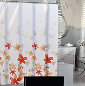 Cynthia Rowley Orange Floating Flower Fabric Shower Curtain Light