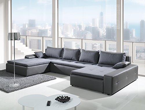 London-Wohnlandschaft-Polstermbel-U-Form-Couch-Sofagarnitur-kunstlederPolster-Schlaffunktion-Gro-XXL-Sofabett-Couchbett-Ottomane-kunstleder-Stoff-mit-Auswahl