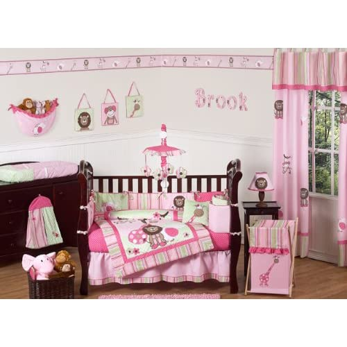 Pink and Green Jungle Safari animal themed Baby Girl Bedding 9pc Crib Set by Sweet Jojo Designs