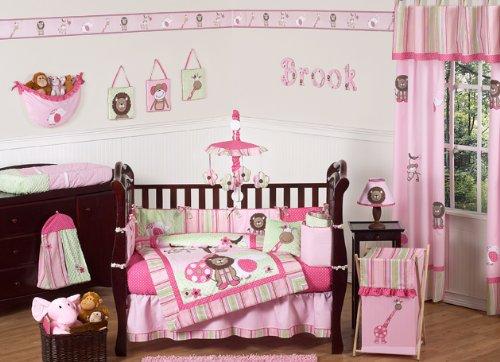 Unique Pink and Green Jungle Safari animal themed Baby Girl Bedding pc Crib Set