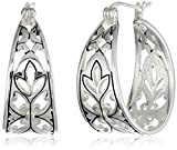 Sterling Silver Filigree Hoop Earrings (1.0