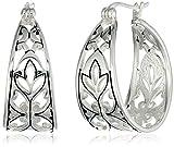 "Sterling Silver Bali Inspired Filigree Triangle Shape Hoop Earrings (1.0"" Diameter)"