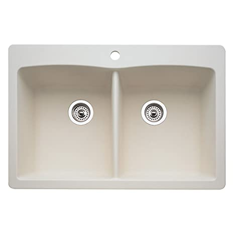 Blanco 511-600 Diamond Equal Double Bowl Kitchen Sink, Biscuit Finish