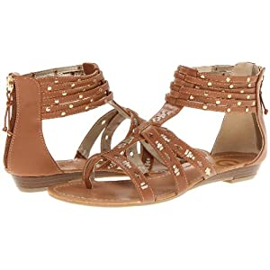 G by Guess Women's Rippa Flat Ankle Wrap Sandals in Medium Brown Size 11
