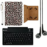 Mary Self Stand Leather Travel Case for Lenovo Tab A7-40 / A7-50 7-inch Tablets + SumacLife Bluetooth Keyboard + Stylus Pen + Black Headphones (Leopard)