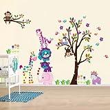 denoda-Happy-Animals-Wandsticker-Wandsticker-Wanddekoration-Wohndeko-Wohnzimmer-Kinderzimmer-Schlafzimmer-Wand-Aufkleber