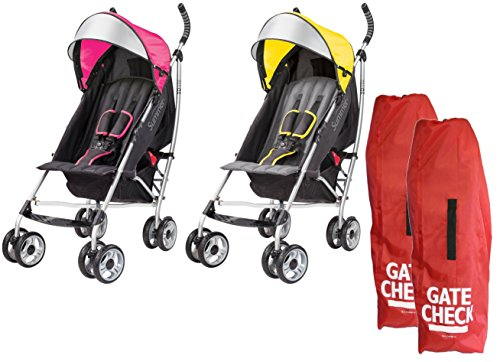 3D-Lite-Convenience-Strollers-with-Gate-Check-Bags-PinkYellow