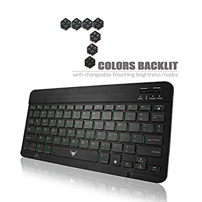"""Airfox K10 Ultra Compact Slim Profile LED Backlit Wireless Bluetooth Keyboard for iOS, Android, Windows and Mac with Rechargeable Lithium Battery,9.7"""" - 10.1"""" Inches Tablets (Black)"""