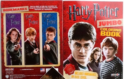 "Jumbo Coloring Book: 11"" X 8"" HARRY POTTER with Bonus Bookmarks! 64 Pages!! Red Cover!"