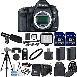 Canon EOS 5D Mark III 22.3 MP Full Frame CMOS Camera Body Only with 2pc Commander 32GB Memory Cards + LED Light + Extra Battery + Card Reader + UV Filter + Backpack Case + Tripod (14 Items)