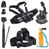 EEEKit Accessory Kit for DBPOWER Action Camera X1HD/12MP/EX5000 Wifi 14MP FHD/EX3000/EX4000,Head Strap,Floaty Grip,Selfie Stick,Car Holder,Chest Harness Mount