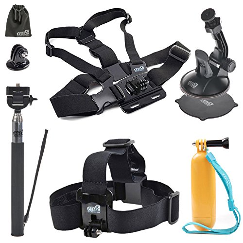 EEEKit 5in1 Accessories Starter Kit for WiMiUS S2 Wifi Full HD Action Cam,Head Strap,Floaty Grip/Selfie Stick Monopod Pole,Chest Harness and Car Mount