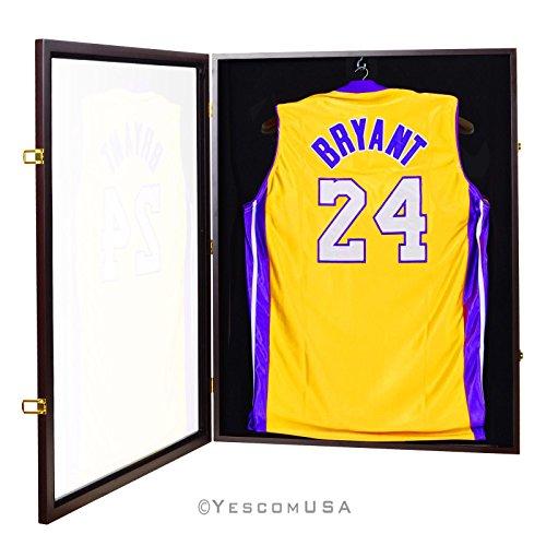 LEESONS BRAND Football Baseball Basketball Jersey Display Case Wood Frame UV Shadow Box Hook