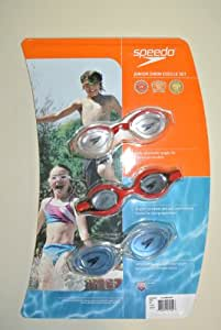 Junior Swim Goggle Set - 3 Pack (Red with Clear Lens & Red with Dark Smoke Lens & Clear with Light Blue Lens)