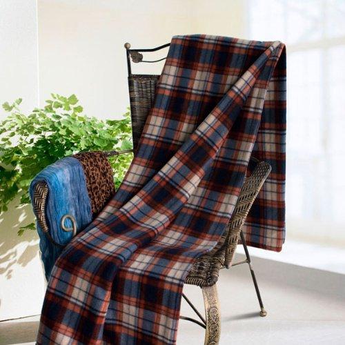 [Scotch Plaids - Orange/Blue] Soft Coral Fleece Throw Blanket (79 by 84.7 inches)