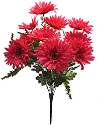 Fourwalls Artificial Synthetic Gerbera Flower Bunch (10 Flowers, Dark Pink, 46 cm)