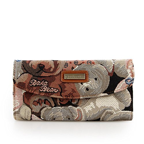 Daka Bear Camo Bear Coffee Flip Wallet Women Clutch Bag Cash Purse