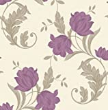 Arthouse Luxury Weight Textured Vinyl Wallcovering Imagine Collection Aliona Motif Plum 252302 - FULL ROLL