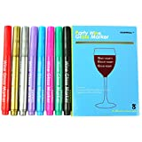 GAINWELL WINE GLASS MARKERS - Pack of 8 Food-Safe Non-Toxic Wine Glass Marker Pens - Great Way to Personalize your Guests' Drinks - Can also be Used on Ceramic Plates and other Glass and Dinnerware