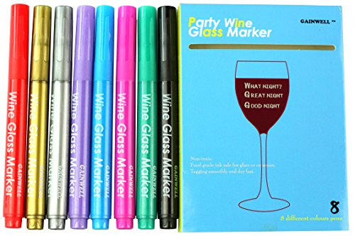 GAINWELL Wine Glass Markers - Pack of 8 Food-Safe Non-Toxic Wine Glass Marker Pens - Can also be Used on Ceramic Plates and other Glass and Dinnerware (Decorate Wine Glasses compare prices)