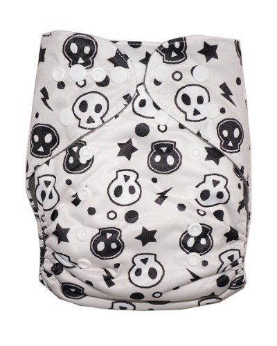 Kerrbear Kids - Black And White Skulls Cloth Diaper (Charcoal Bamboo Insert And Inner)