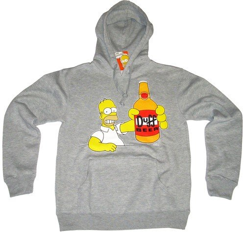 Felpa adulto Homer Simpson Duff Beer The Simpsons-M-grigio