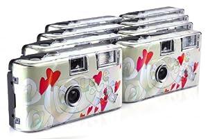 TopShot Lot de 8 appareils photo jetables Flying Hearts pour 27 photos avec flash