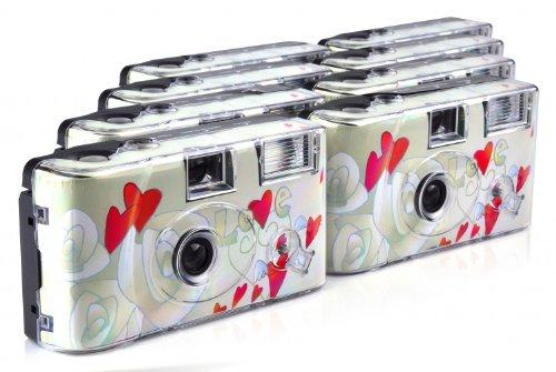 """TopShot - Fotocamera usa e getta """"Flying Hearts"""", 27 scatti, flash, confezione da 8"""