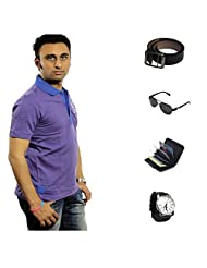 Garushi Purple T-Shirt With Watch Belt Sunglasses Cardholder